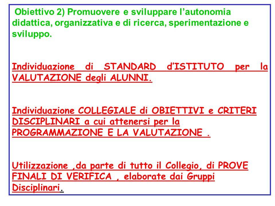 Obiettivo 2) Promuovere e sviluppare lautonomia didattica, organizzativa e di ricerca, sperimentazione e sviluppo. Individuazione di STANDARD dISTITUT
