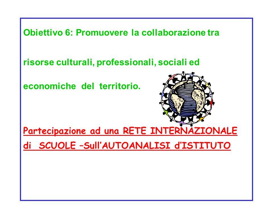 Obiettivo 6: Promuovere la collaborazione tra risorse culturali, professionali, sociali ed economiche del territorio.