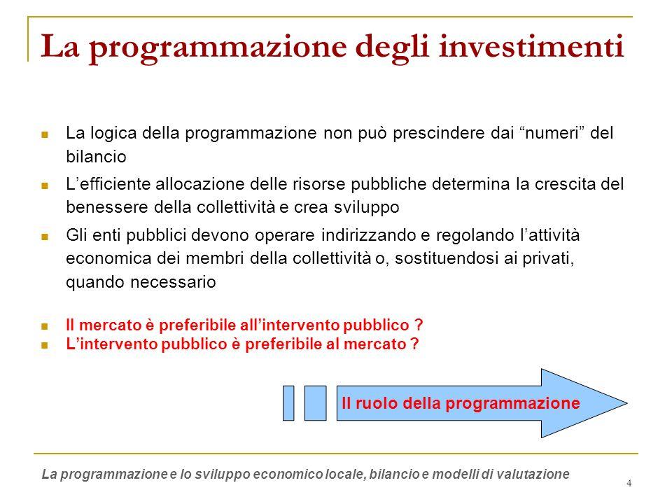 5 I soggetti delleconomia pubblica Economia Pubblica Comuni Unione Europea Province Regioni Paesi extra UE Stati nazionali Autonomie funzionali Mercato privati La programmazione e lo sviluppo economico locale, bilancio e modelli di valutazione