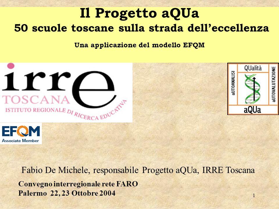 1 Il Progetto aQUa 50 scuole toscane sulla strada delleccellenza Una applicazione del modello EFQM Fabio De Michele, responsabile Progetto aQUa, IRRE
