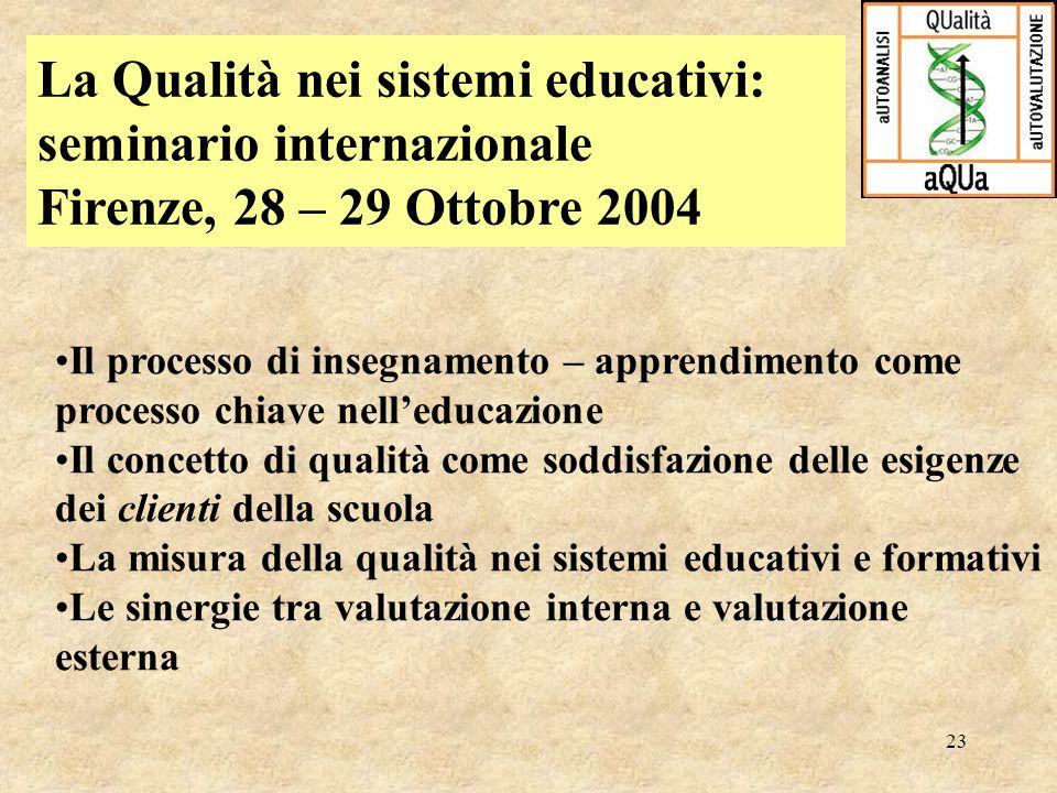 23 La Qualità nei sistemi educativi: seminario internazionale Firenze, 28 – 29 Ottobre 2004 Il processo di insegnamento – apprendimento come processo