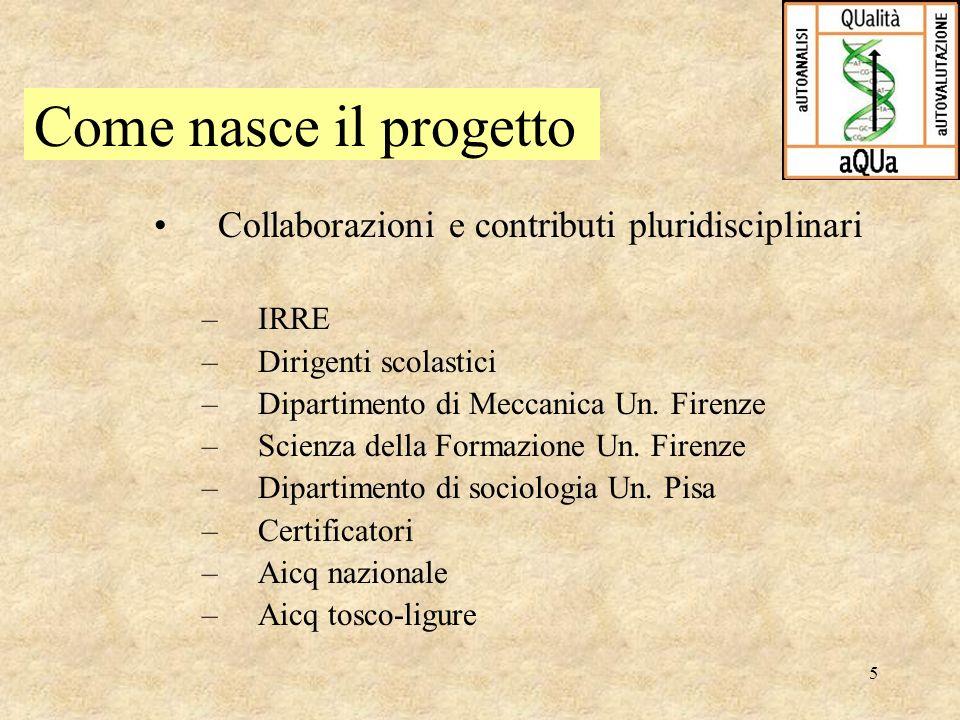 5 Collaborazioni e contributi pluridisciplinari –IRRE –Dirigenti scolastici –Dipartimento di Meccanica Un. Firenze –Scienza della Formazione Un. Firen