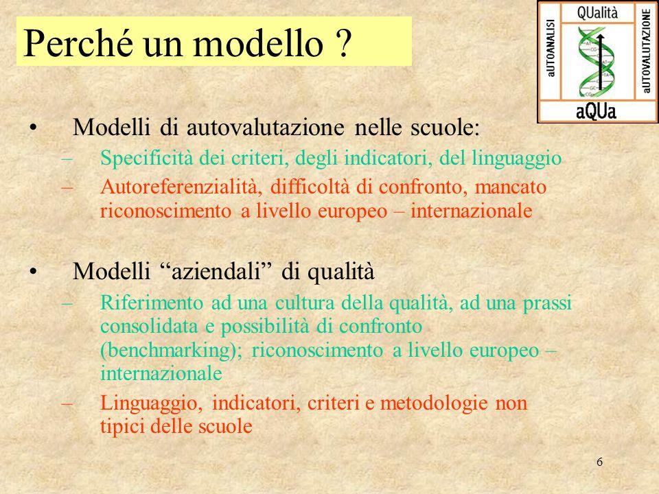 6 Modelli di autovalutazione nelle scuole: –Specificità dei criteri, degli indicatori, del linguaggio –Autoreferenzialità, difficoltà di confronto, ma