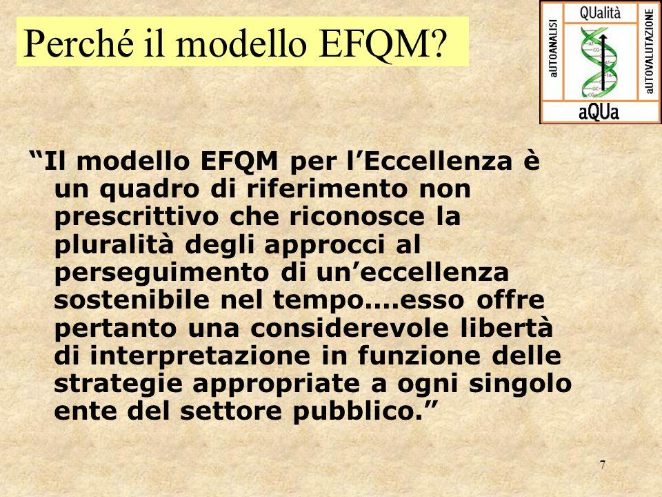 7 Perché il modello EFQM? Il modello EFQM per lEccellenza è un quadro di riferimento non prescrittivo che riconosce la pluralità degli approcci al per
