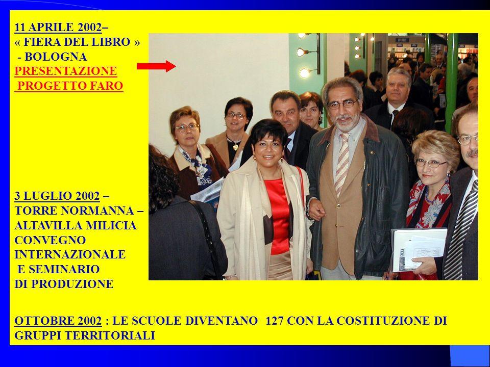 11 APRILE 2002– « FIERA DEL LIBRO » - BOLOGNA PRESENTAZIONE PROGETTO FARO 3 LUGLIO 2002 – TORRE NORMANNA – ALTAVILLA MILICIA CONVEGNO INTERNAZIONALE E SEMINARIO DI PRODUZIONE OTTOBRE 2002 : LE SCUOLE DIVENTANO 127 CON LA COSTITUZIONE DI GRUPPI TERRITORIALI