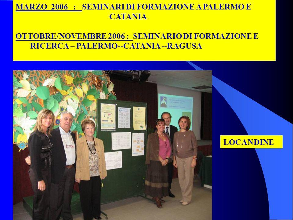MARZO 2006 : SEMINARI DI FORMAZIONE A PALERMO E CATANIA OTTOBRE/NOVEMBRE 2006 : SEMINARIO DI FORMAZIONE E RICERCA – PALERMO--CATANIA --RAGUSA LOCANDIN