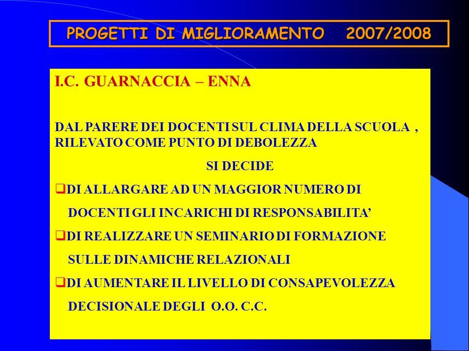 PROGETTI DI MIGLIORAMENTO 2007/2008 I.C.