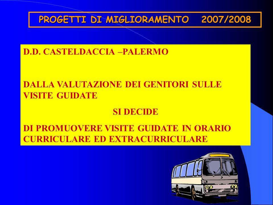PROGETTI DI MIGLIORAMENTO 2007/2008 D.D. CASTELDACCIA –PALERMO DALLA VALUTAZIONE DEI GENITORI SULLE VISITE GUIDATE SI DECIDE DI PROMUOVERE VISITE GUID