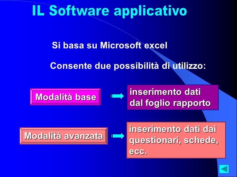 Si basa su Microsoft excel Consente due possibilità di utilizzo: Modalità base inserimento dati dal foglio rapporto inserimento dati dai questionari,