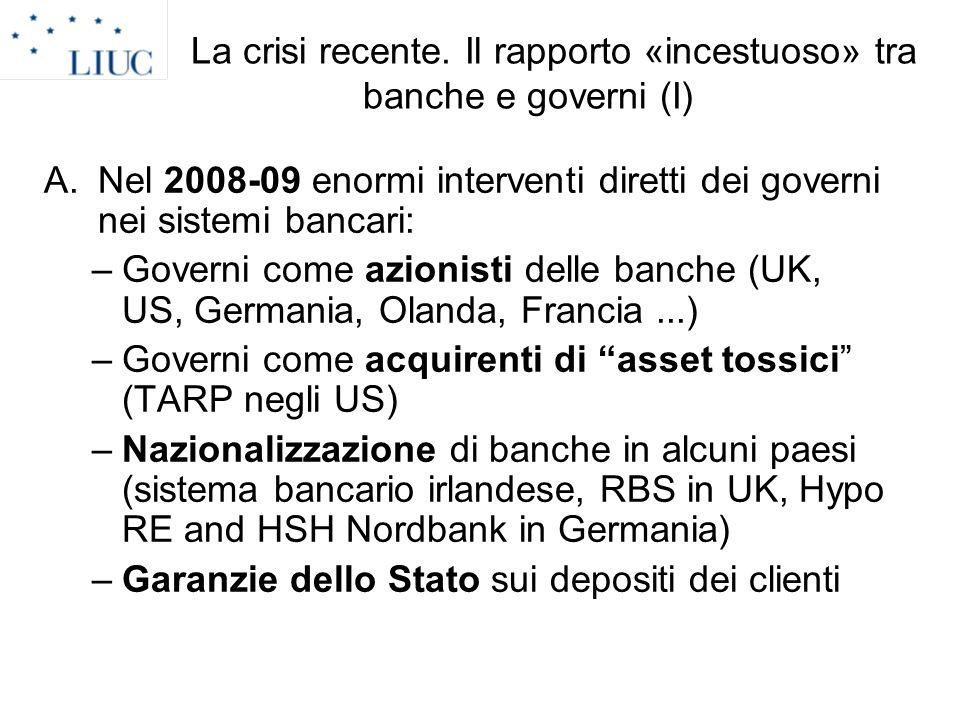 La crisi recente. Il rapporto «incestuoso» tra banche e governi (I) A.Nel 2008-09 enormi interventi diretti dei governi nei sistemi bancari: –Governi