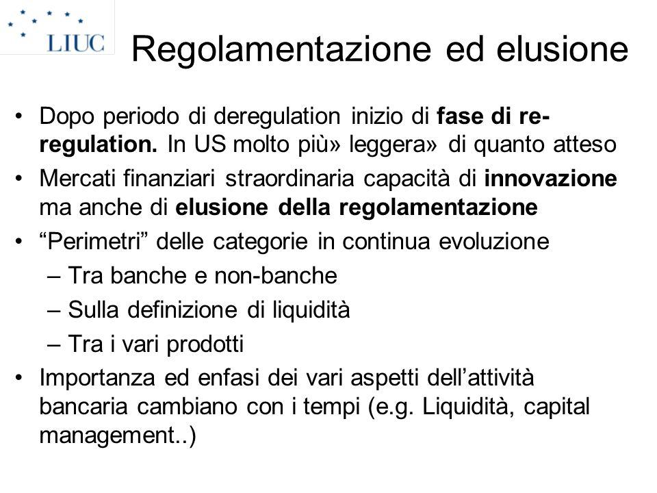 Regolamentazione ed elusione Dopo periodo di deregulation inizio di fase di re- regulation. In US molto più» leggera» di quanto atteso Mercati finanzi