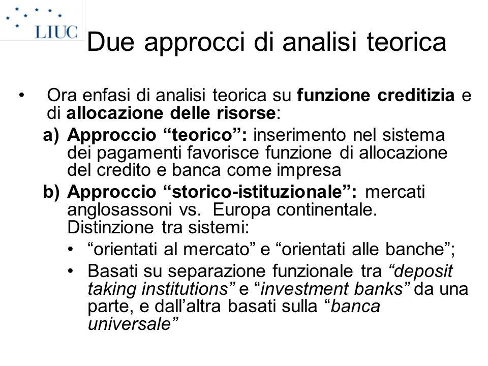 Due approcci di analisi teorica Ora enfasi di analisi teorica su funzione creditizia e di allocazione delle risorse: a)Approccio teorico: inserimento