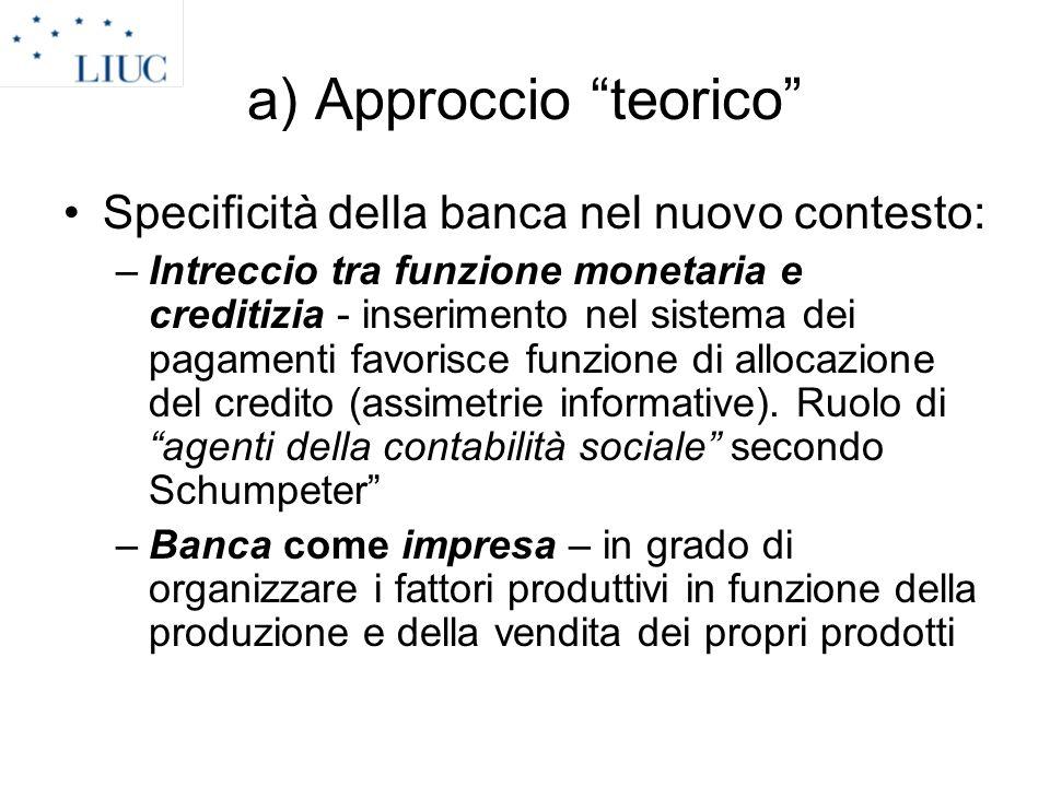a) Approccio teorico Specificità della banca nel nuovo contesto: –Intreccio tra funzione monetaria e creditizia - inserimento nel sistema dei pagament