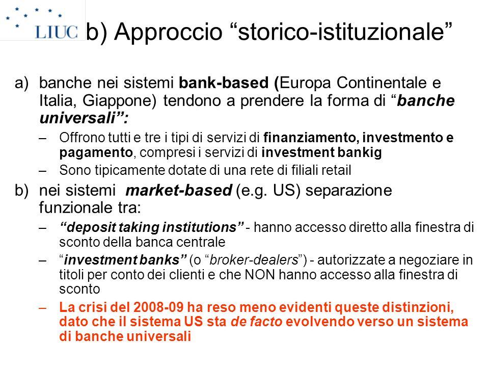 b) Approccio storico-istituzionale a)banche nei sistemi bank-based (Europa Continentale e Italia, Giappone) tendono a prendere la forma di banche univ