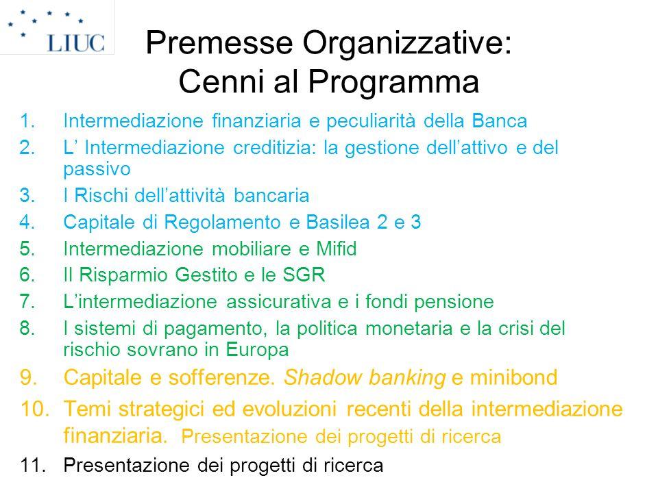 Premesse Organizzative: Cenni al Programma 1.Intermediazione finanziaria e peculiarità della Banca 2.L Intermediazione creditizia: la gestione dellatt