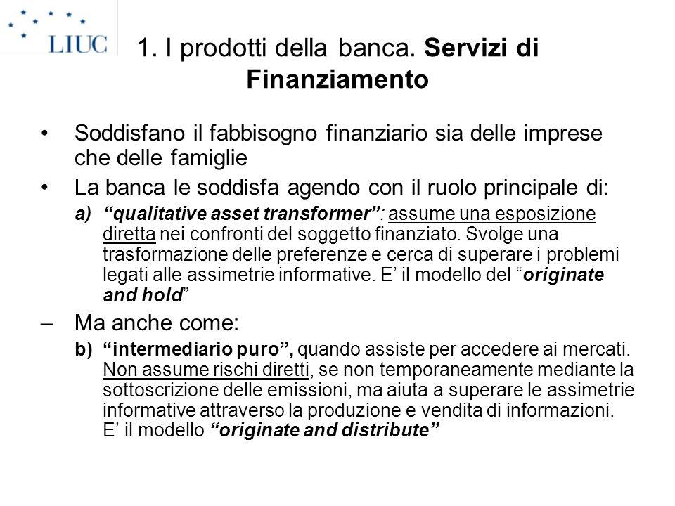 1. I prodotti della banca. Servizi di Finanziamento Soddisfano il fabbisogno finanziario sia delle imprese che delle famiglie La banca le soddisfa age