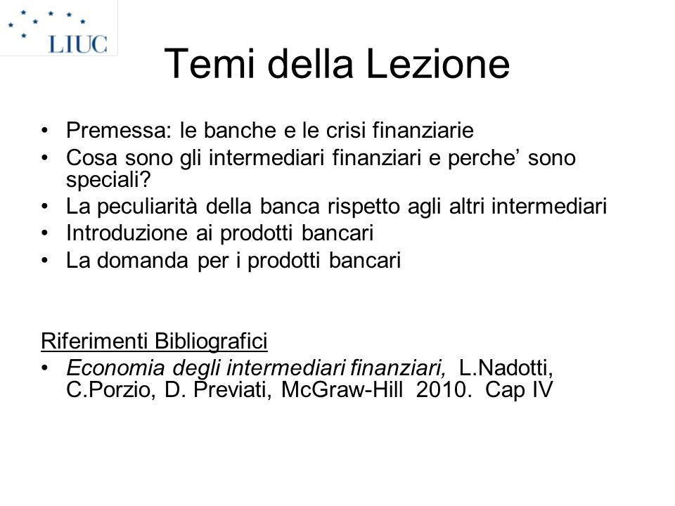La domanda di prodotti bancari.I modelli di differenziazione Concetto di economia industriale.
