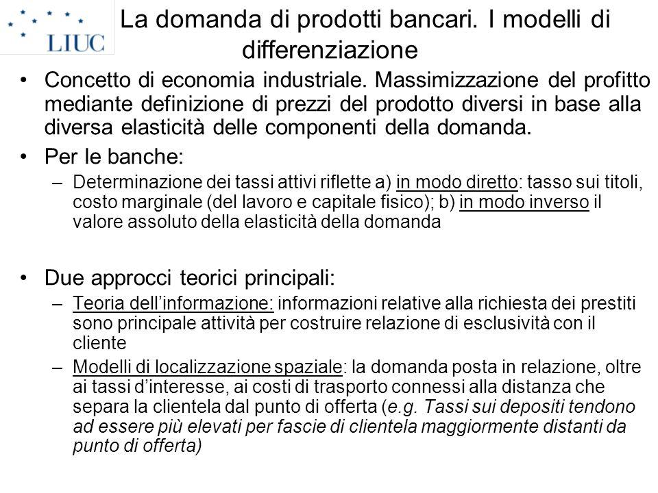 La domanda di prodotti bancari. I modelli di differenziazione Concetto di economia industriale. Massimizzazione del profitto mediante definizione di p