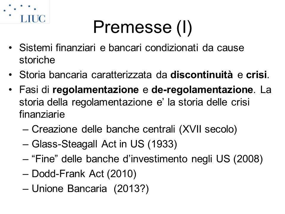 Premesse (I) Sistemi finanziari e bancari condizionati da cause storiche Storia bancaria caratterizzata da discontinuità e crisi. Fasi di regolamentaz