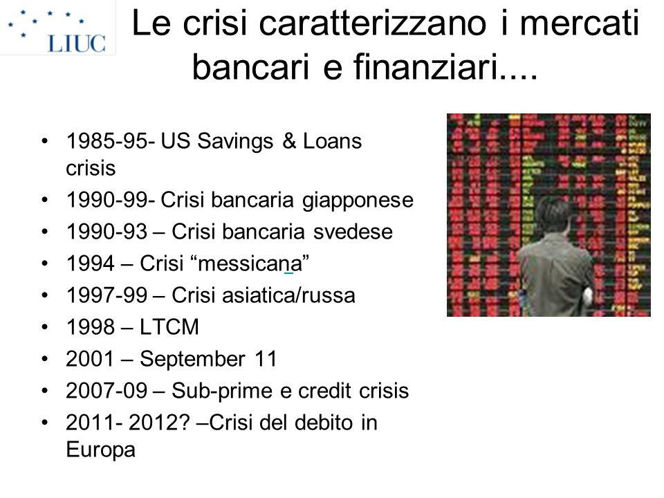Le crisi caratterizzano i mercati bancari e finanziari.... 1985-95- US Savings & Loans crisis 1990-99- Crisi bancaria giapponese 1990-93 – Crisi banca