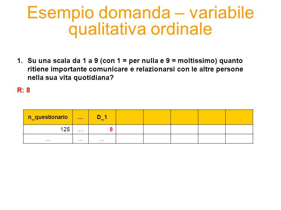 Esempio domanda – variabile quantitativa n_questionario…D_1D_2 125….83 34…… 10 2.