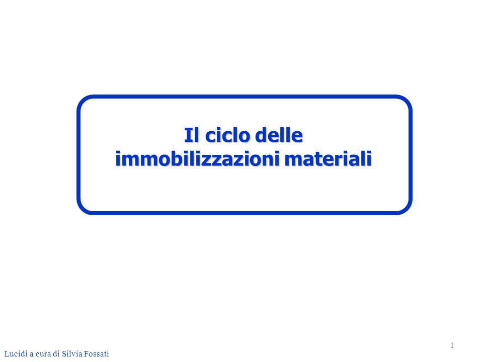 Ciclo immobilizzazioni materiali Le immobilizzazioni materiali sono beni durevoli utilizzati come mezzo di produzione del reddito e non sono quindi destinate alla vendita.