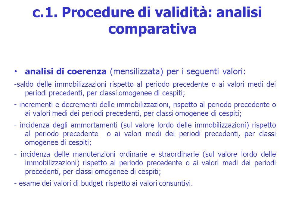 analisi di coerenza (mensilizzata) per i seguenti valori: -saldo delle immobilizzazioni rispetto al periodo precedente o ai valori medi dei periodi pr