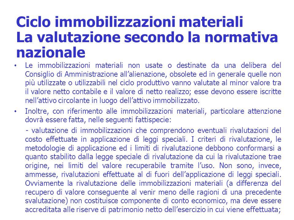 Ciclo immobilizzazioni materiali La valutazione secondo la normativa nazionale Le immobilizzazioni materiali non usate o destinate da una delibera del