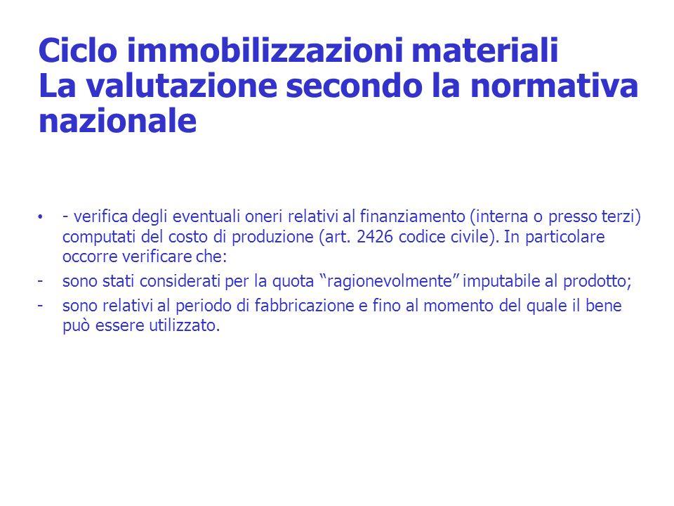 Ciclo immobilizzazioni materiali La valutazione secondo la normativa nazionale - verifica degli eventuali oneri relativi al finanziamento (interna o p