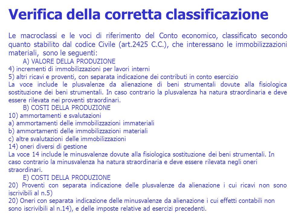 Le macroclassi e le voci di riferimento del Conto economico, classificato secondo quanto stabilito dal codice Civile (art.2425 C.C.), che interessano