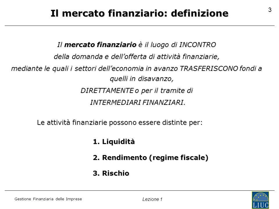 Gestione Finanziaria delle Imprese Lezione 1 Il mercato finanziario: definizione Il mercato finanziario è il luogo di INCONTRO della domanda e dellofferta di attività finanziarie, mediante le quali i settori delleconomia in avanzo TRASFERISCONO fondi a quelli in disavanzo, DIRETTAMENTE o per il tramite di INTERMEDIARI FINANZIARI.