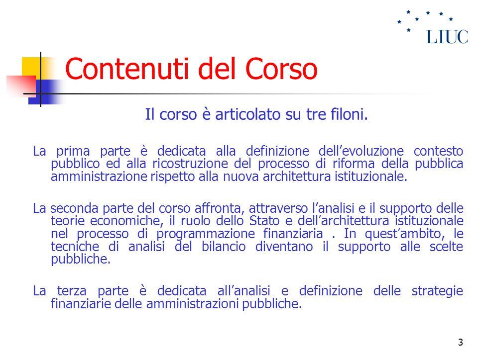 3 Contenuti del Corso Il corso è articolato su tre filoni. La prima parte è dedicata alla definizione dellevoluzione contesto pubblico ed alla ricostr