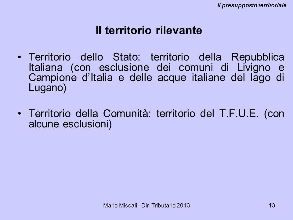 Mario Miscali - Dir. Tributario 201313 Territorio dello Stato: territorio della Repubblica Italiana (con esclusione dei comuni di Livigno e Campione d