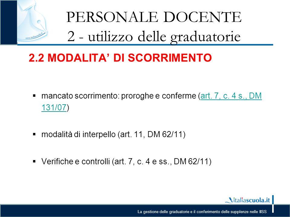 La gestione delle graduatorie e il conferimento delle supplenze nelle IISS PERSONALE DOCENTE 2 - utilizzo delle graduatorie 2.2 MODALITA DI SCORRIMENTO mancato scorrimento: proroghe e conferme (art.