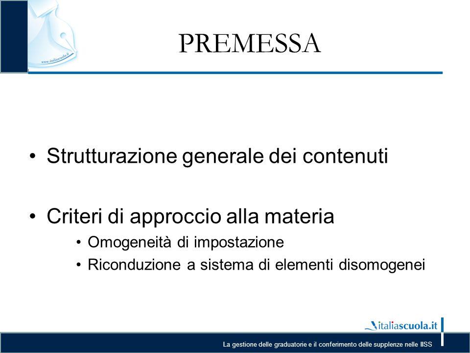 La gestione delle graduatorie e il conferimento delle supplenze nelle IISS PREMESSA Strutturazione generale dei contenuti Criteri di approccio alla materia Omogeneità di impostazione Riconduzione a sistema di elementi disomogenei