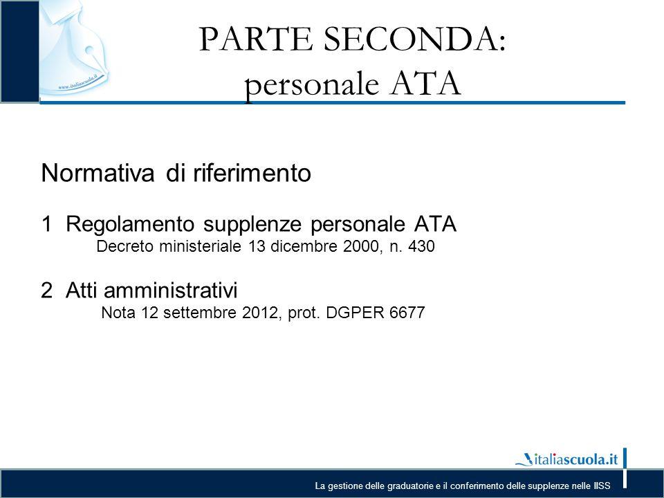 La gestione delle graduatorie e il conferimento delle supplenze nelle IISS PARTE SECONDA: personale ATA Normativa di riferimento 1Regolamento supplenze personale ATA Decreto ministeriale 13 dicembre 2000, n.