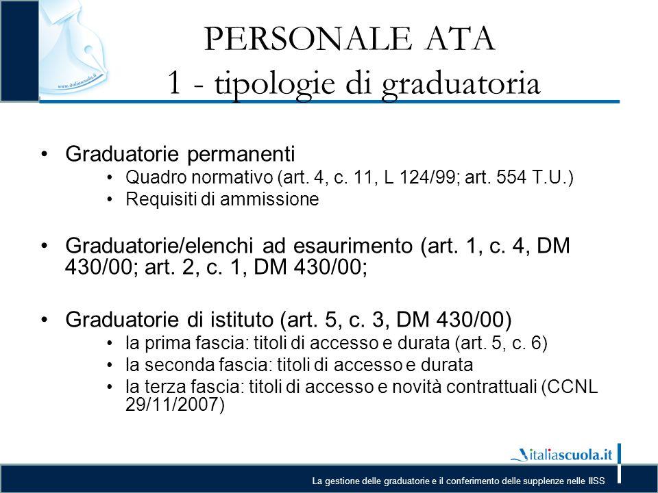 La gestione delle graduatorie e il conferimento delle supplenze nelle IISS PERSONALE ATA 1 - tipologie di graduatoria Graduatorie permanenti Quadro normativo (art.