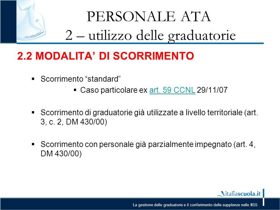 La gestione delle graduatorie e il conferimento delle supplenze nelle IISS PERSONALE ATA 2 – utilizzo delle graduatorie 2.2 MODALITA DI SCORRIMENTO Scorrimento standard Caso particolare ex art.