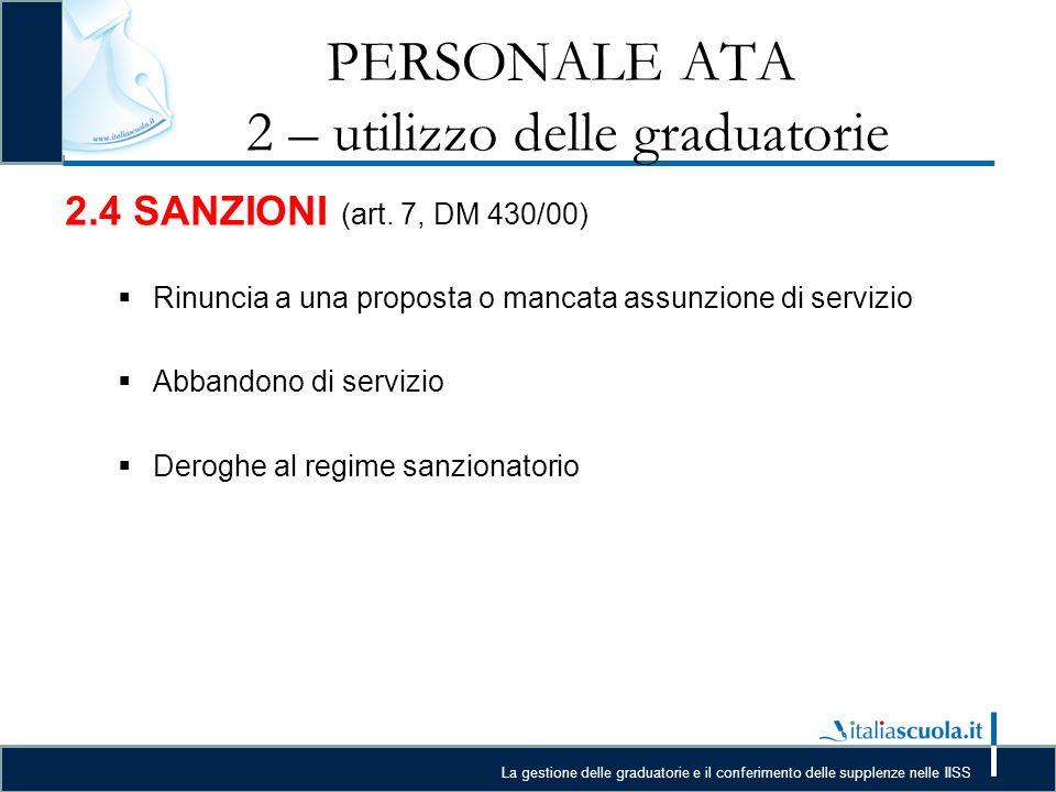 La gestione delle graduatorie e il conferimento delle supplenze nelle IISS PERSONALE ATA 2 – utilizzo delle graduatorie 2.4 SANZIONI (art.