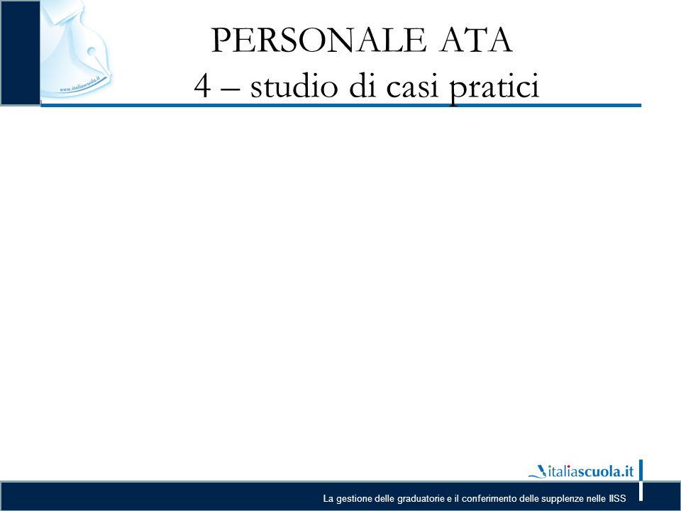 La gestione delle graduatorie e il conferimento delle supplenze nelle IISS PERSONALE ATA 4 – studio di casi pratici