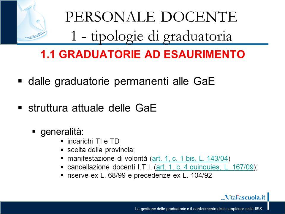 La gestione delle graduatorie e il conferimento delle supplenze nelle IISS PERSONALE DOCENTE 3 – Casi pratici Prove di individuazione