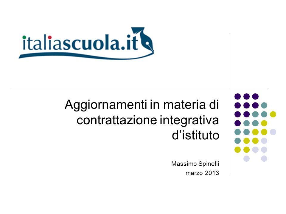 Aggiornamenti in materia di contrattazione integrativa distituto Massimo Spinelli marzo 2013