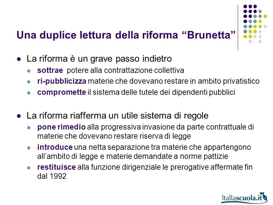 Una duplice lettura della riforma Brunetta La riforma è un grave passo indietro sottrae potere alla contrattazione collettiva ri-pubblicizza materie c