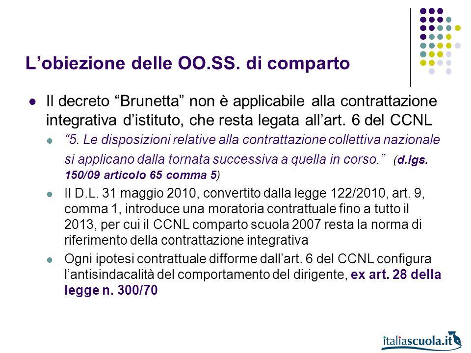 Lobiezione delle OO.SS. di comparto Il decreto Brunetta non è applicabile alla contrattazione integrativa distituto, che resta legata allart. 6 del CC
