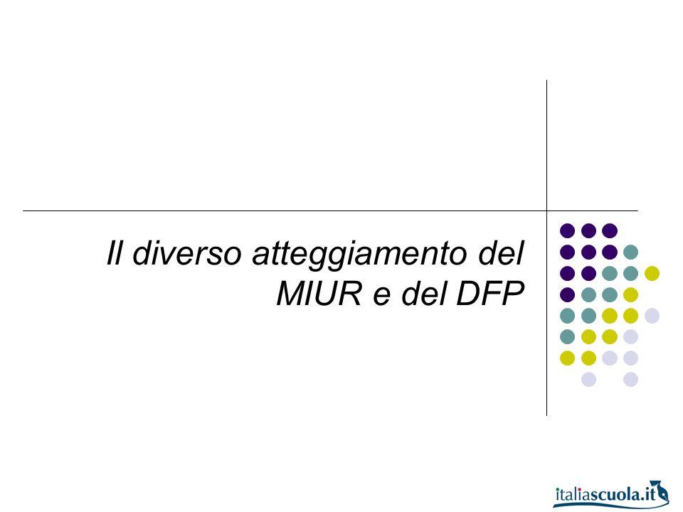 Il diverso atteggiamento del MIUR e del DFP