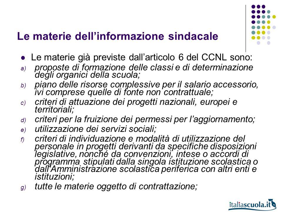 Le materie dellinformazione sindacale Le materie già previste dallarticolo 6 del CCNL sono: a) proposte di formazione delle classi e di determinazione