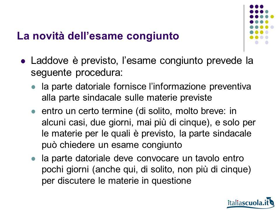 La novità dellesame congiunto Laddove è previsto, lesame congiunto prevede la seguente procedura: la parte datoriale fornisce linformazione preventiva