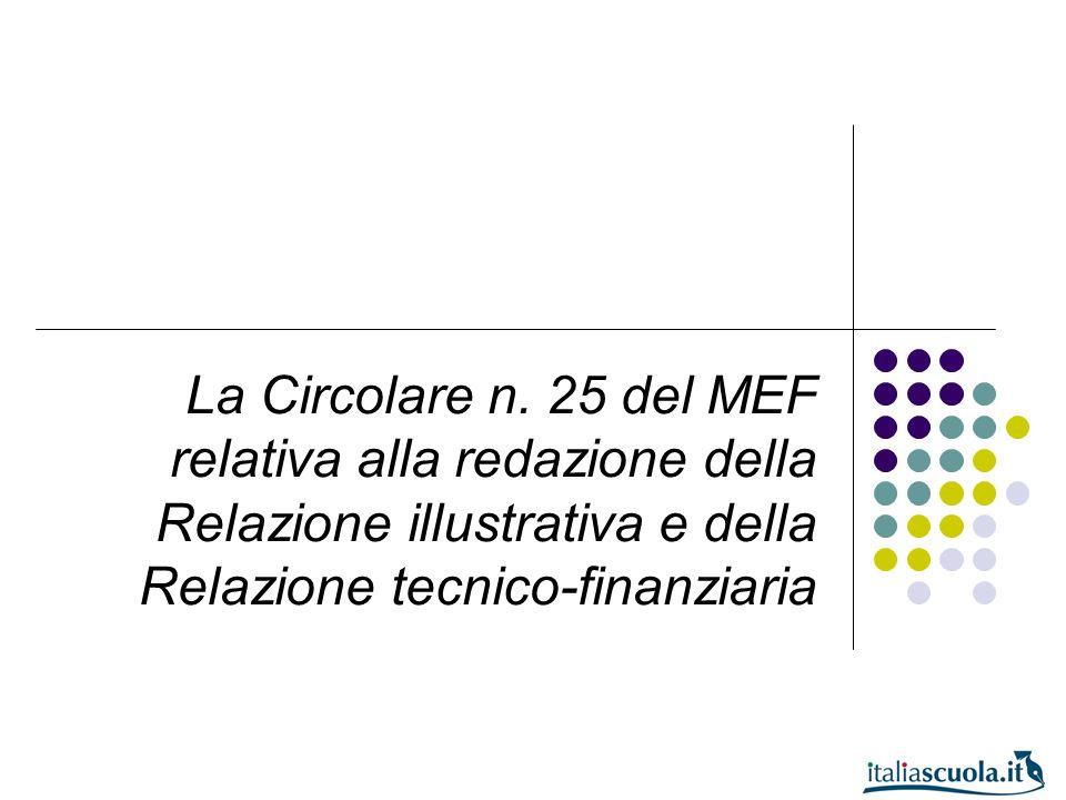 La Circolare n. 25 del MEF relativa alla redazione della Relazione illustrativa e della Relazione tecnico-finanziaria