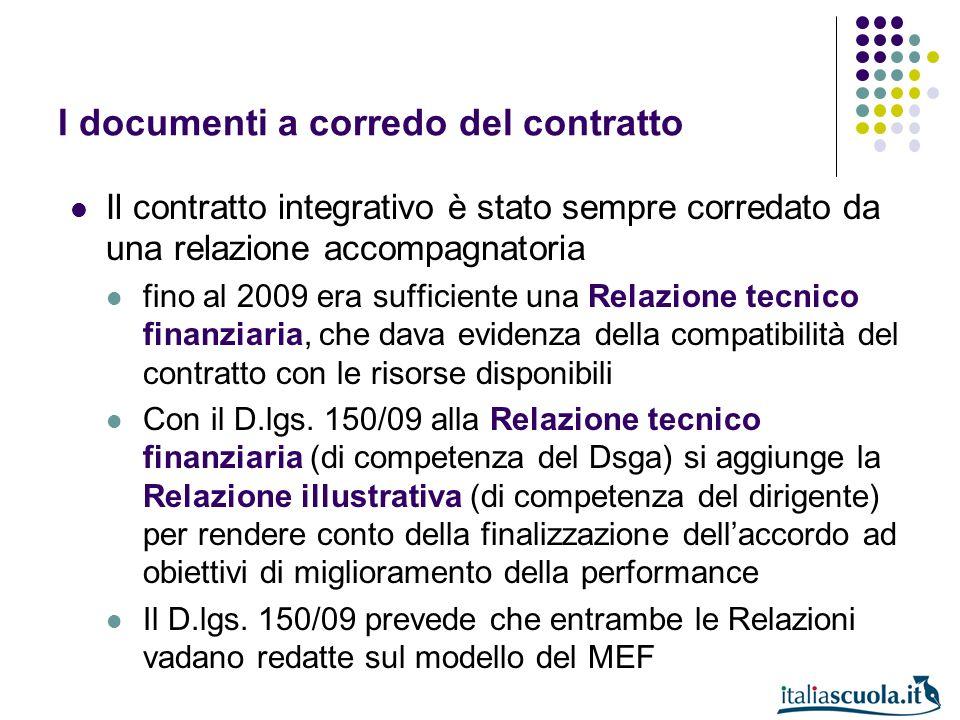 I documenti a corredo del contratto Il contratto integrativo è stato sempre corredato da una relazione accompagnatoria fino al 2009 era sufficiente un