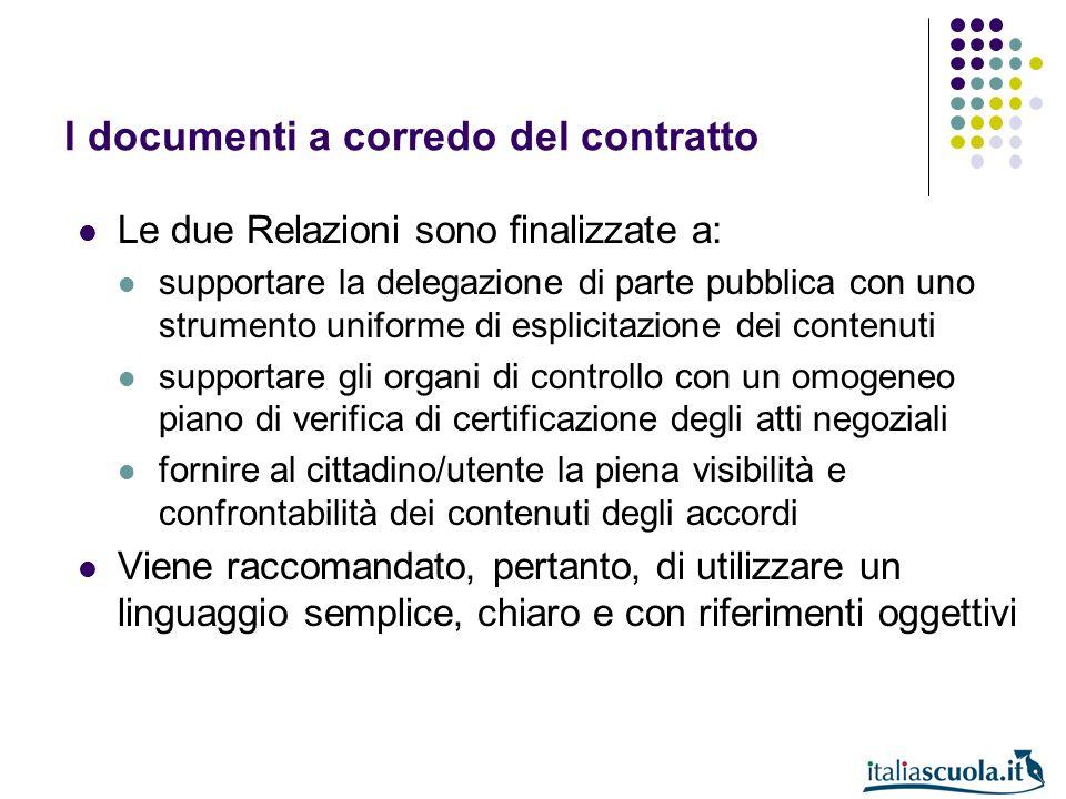 I documenti a corredo del contratto Le due Relazioni sono finalizzate a: supportare la delegazione di parte pubblica con uno strumento uniforme di esp
